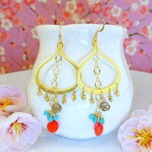 Carnelian Smokey Quartz Gold Chandelier Earrings